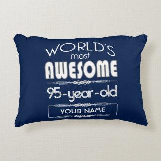 95th Birthday Worlds Best Fabulous Dark Blue Decorative Cushion