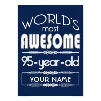 95th Birthday Worlds Best Fabulous Dark Blue Custom Announcements