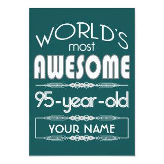 "95th Birthday Worlds Best Fabulous Dark Green Fore 5"" X 7"" Invitation Card"