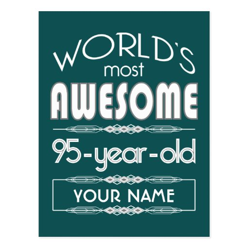 95th Birthday Worlds Best Fabulous Dark Green Fore Postcard