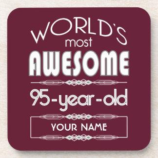 95th Birthday Worlds Best Fabulous Dark Red Drink Coaster