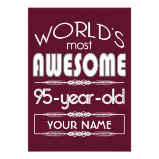 95th Birthday Worlds Best Fabulous Dark Red Invites