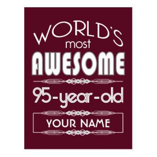 95th Birthday Worlds Best Fabulous Dark Red Postcard