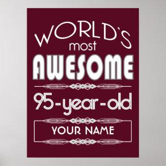 95th Birthday Worlds Best Fabulous Dark Red Print