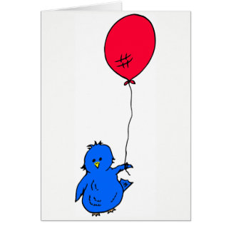 965 Bluebird of happiness and a red balloon Card