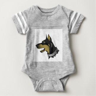 96Angry Dog _rasterized Baby Bodysuit