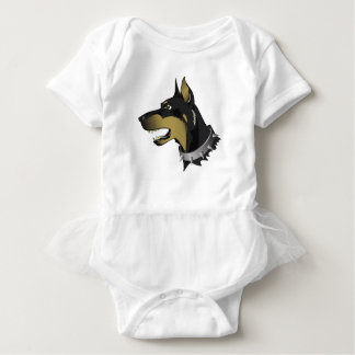 96Angry Dog _rasterized Baby Bodysuit