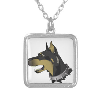 96Angry Dog _rasterized Silver Plated Necklace