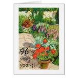 96th Birthday Card - Red Geraniums