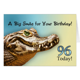 96th Birthday card with a smiling alligator