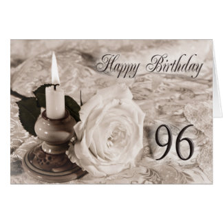 96th Birthday card with an antique rose
