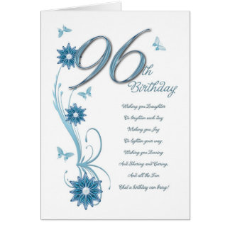 96th birthday in teal with flowers and butterfly card