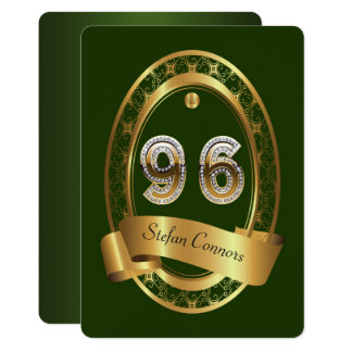 96th,birthday party woman man,elegant color card