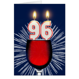 96th Birthday with wine and candles Card
