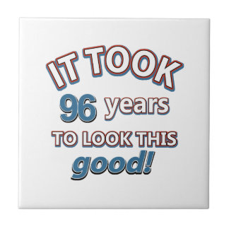 96th year birthday designs small square tile