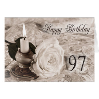 97th Birthday card with an antique rose