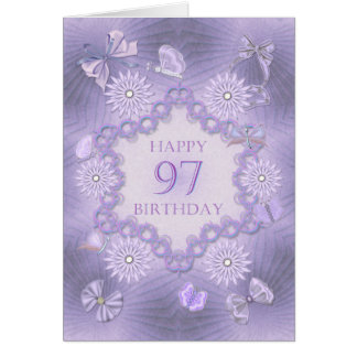 97th birthday card with lavender flowers