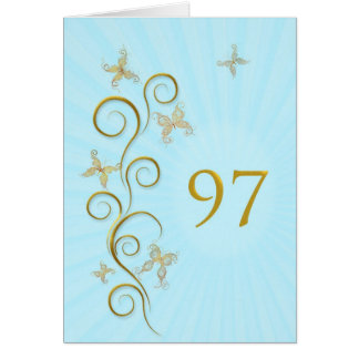 97th Birthday with golden butterflies Card