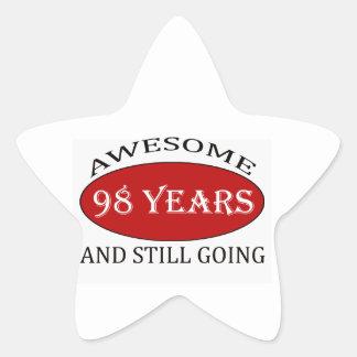 98 years old birthday designs star sticker