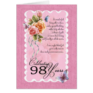 98 years old greeting card - roses and butterflies