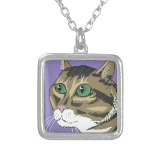 98Cat Head_rasterized Silver Plated Necklace