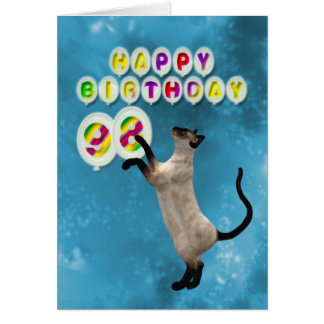 98th Birthday card with siamese cats