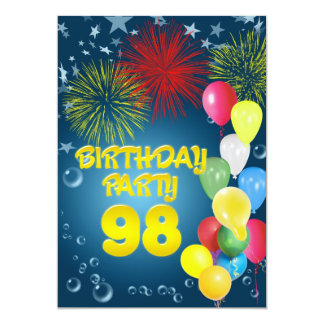 98th Birthday party Invitation with balloons