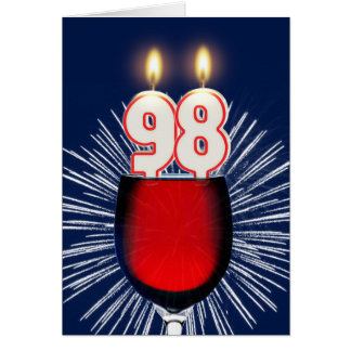 98th Birthday with wine and candles Card