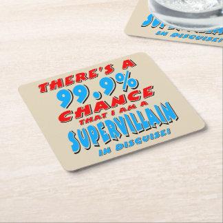 99.9% I am a SUPER VILLAIN (blk) Square Paper Coaster