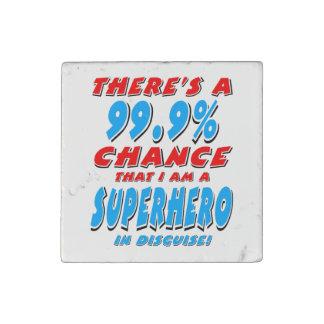 99.9% I am a SUPERHERO (blk) Stone Magnet