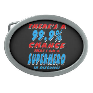 99.9% I am a SUPERHERO (wht) Oval Belt Buckle