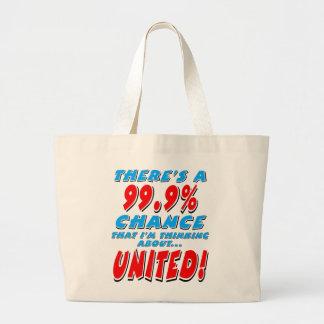 99.9% UNITED (blk) Large Tote Bag