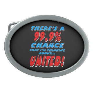 99.9% UNITED (wht) Belt Buckle