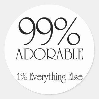 99% Adorable Round Sticker