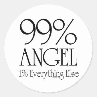 99% Angel Round Stickers