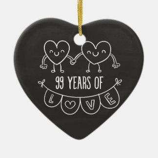 99th Anniversary Gift Chalk Hearts Ceramic Heart Decoration