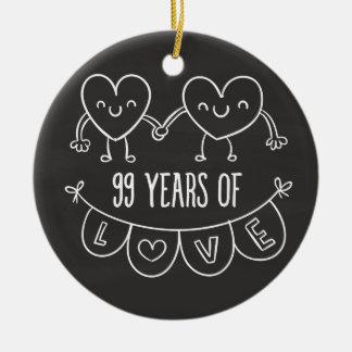 99th Anniversary Gift Chalk Hearts Round Ceramic Decoration