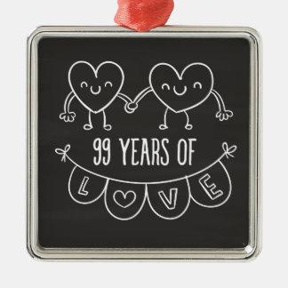99th Anniversary Gift Chalk Hearts Silver-Colored Square Decoration
