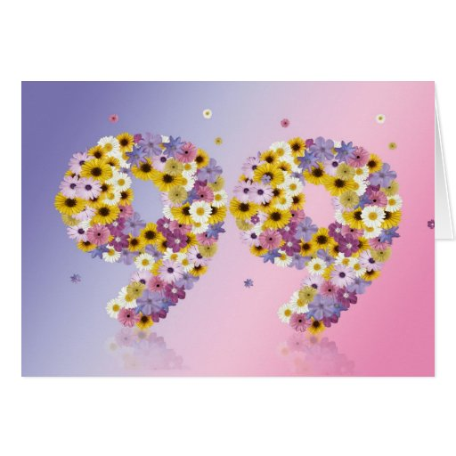 99th birthday card with flowery letters