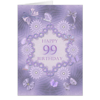 99th birthday card with lavender flowers