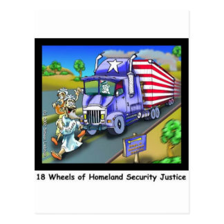 9/11 Commemorative Cartoon 18 Wheeler Postcard