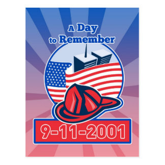 9-11 Firefighter Fireman Helmet American Flag Postcard