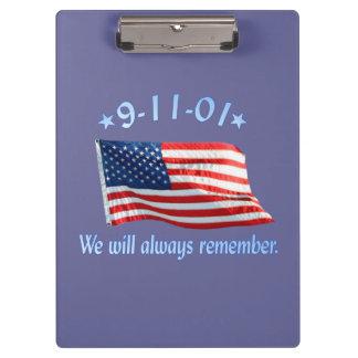 9-11 Memorial We Will Always Remember Clipboards