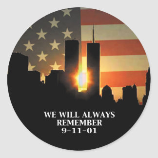 9-11 remember - We will never forget Classic Round Sticker