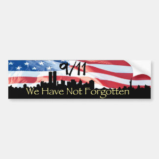 9/11 Remembered NY Skyline and Waving Flag Bumper Sticker