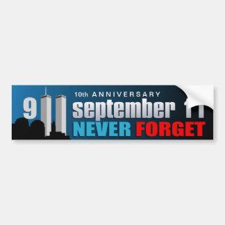9/11 September 11th - 10th Anniversary - WTC Bumper Sticker