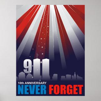 9-11 Setpember 11th 10th Anniversary Huge Poster