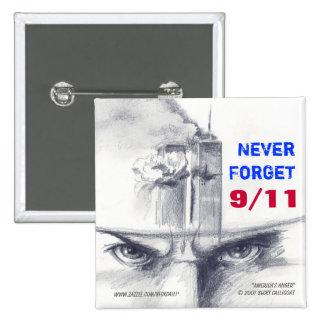 9/11 square button pinback button
