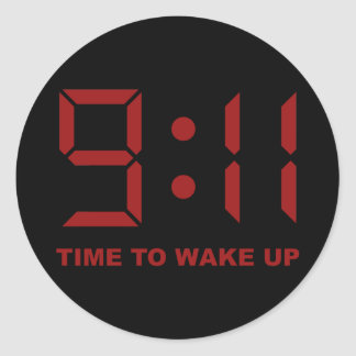 9:11 time to wake up classic round sticker