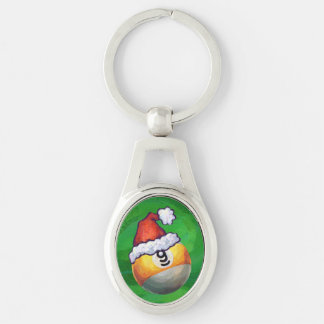 9 ball Christmas Green Hat Silver-Colored Oval Key Ring